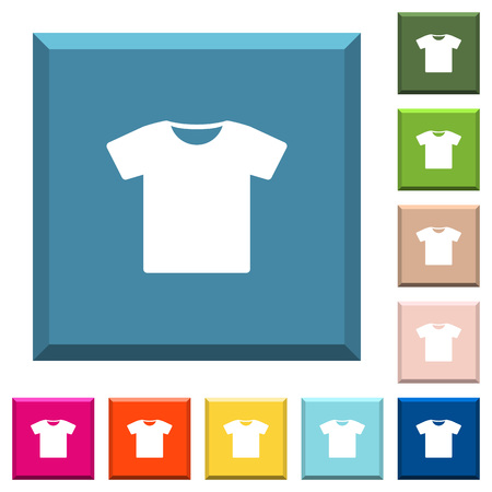 T-shirt white icons on edged square buttons in various trendy colors