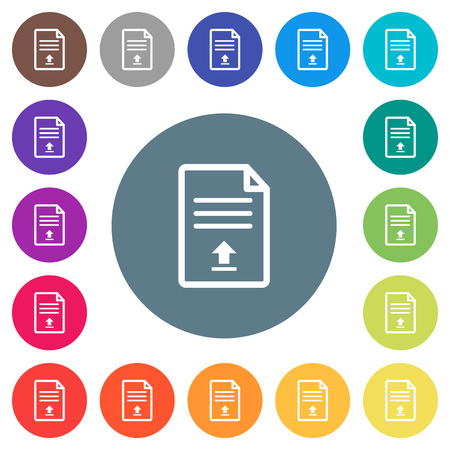 Upload document flat white icons on round color backgrounds. 17 background color variations are included.