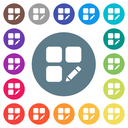 Rename component flat white icons on round color backgrounds. 17 background color variations are included. Vecteurs