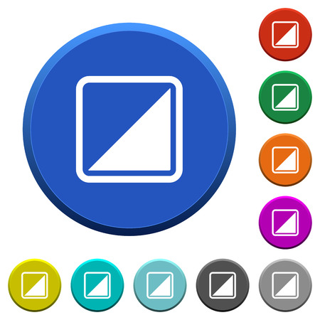 Invert object round color beveled buttons with smooth surfaces and flat white icons