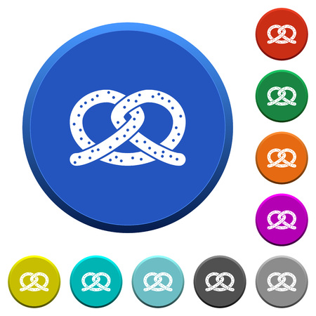 Salted pretzel round color beveled buttons with smooth surfaces and flat white icons Illustration