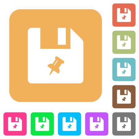 Pin file flat icons on rounded square vivid color backgrounds.