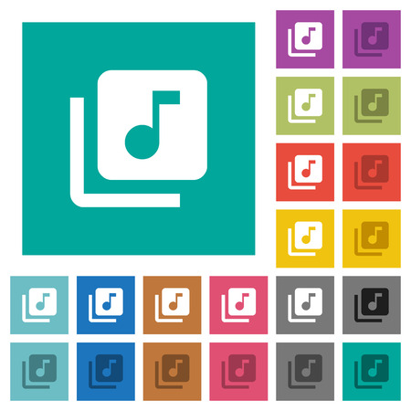 Music library multi colored flat icons on plain square backgrounds. Included white and darker icon variations for hover or active effects. Иллюстрация