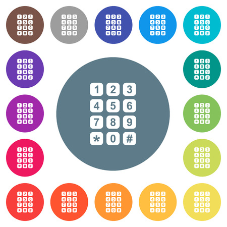 Numeric keypad flat white icons on round color backgrounds. 17 background color variations are included.