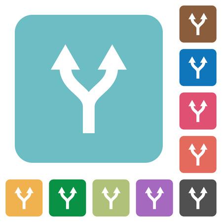 Fractionner les flèches vers le haut des icônes plates blanches sur fond carré arrondi de couleur Vecteurs