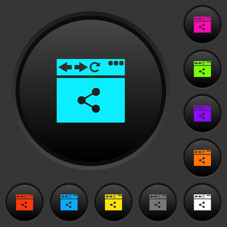 Browser share dark push buttons with vivid color icons on dark grey background