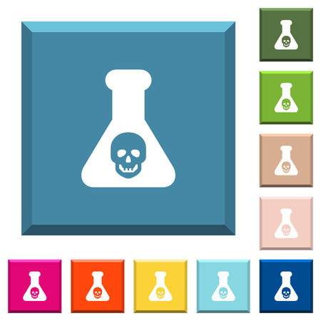 Dangerous chemical experiment white icons on edged square buttons in various trendy colors