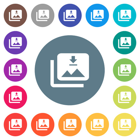 Download multiple images flat white icons on round color backgrounds. 17 background color variations are included.