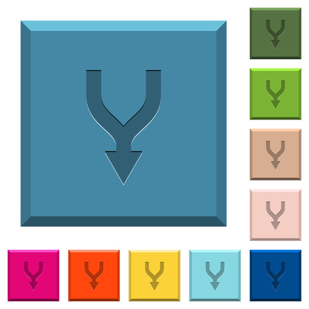 Merge arrows down engraved icons on edged square buttons in various trendy colors Archivio Fotografico - 111817991