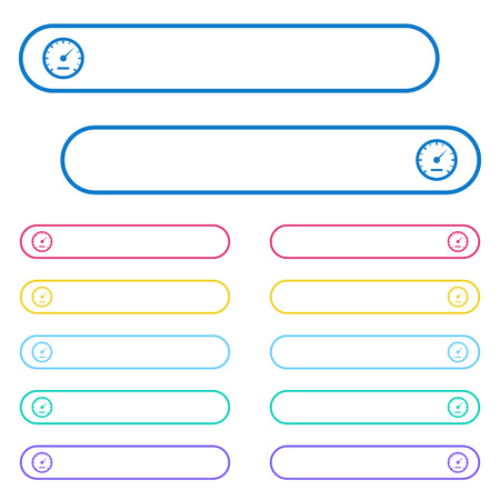 Speedometer icons in rounded color menu buttons. Left and right side icon variations. Illustration