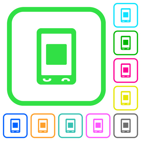Mobile media stop vivid colored flat icons in curved borders on white background
