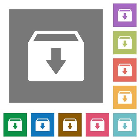 Archive flat icons on simple color square backgrounds Reklamní fotografie - 111818008