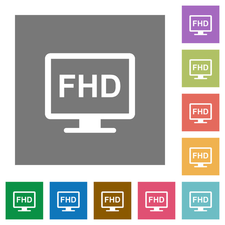 Full HD display flat icons on simple color square backgrounds