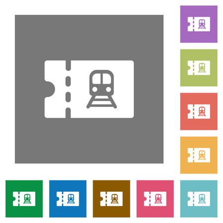 Railroad discount coupon flat icons on simple color square backgrounds