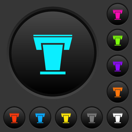 Conference podium dark push buttons with vivid color icons on dark grey background