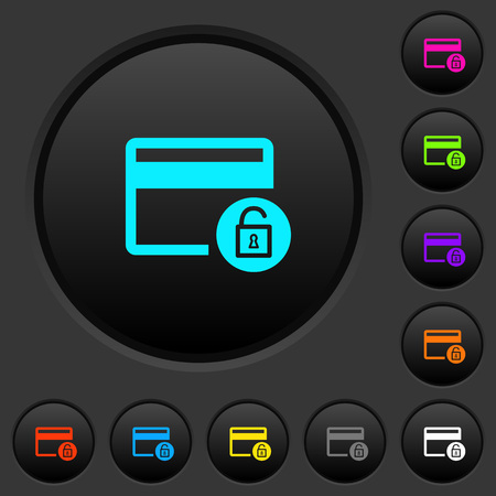 Unlock credit card transactions dark push buttons with vivid color icons on dark grey background