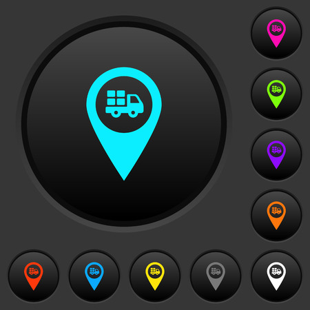 Transport service GPS map location dark push buttons with vivid color icons on dark grey background