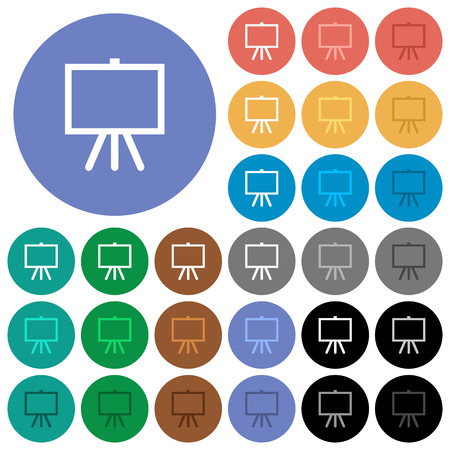 Easel with blank canvas multi colored flat icons on round backgrounds. Included white, light and dark icon variations for hover and active status effects, and bonus shades on black backgounds. Illustration