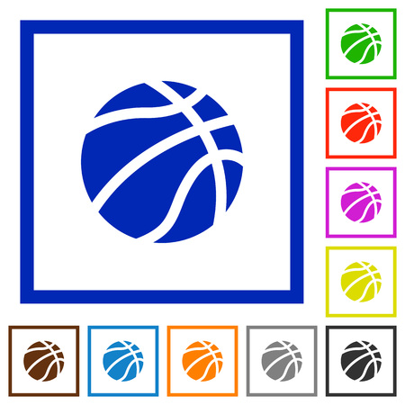Basketball flat color icons in square frames on white background Vektoros illusztráció