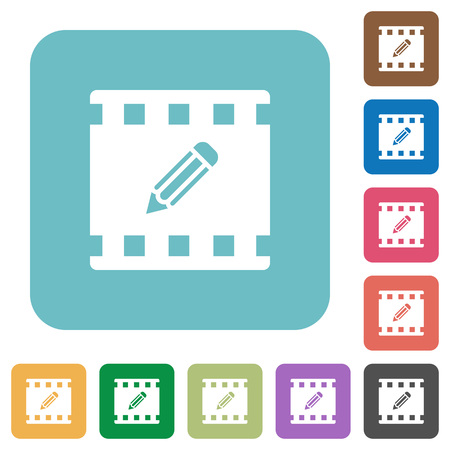 Edit movie white flat icons on color rounded square backgrounds