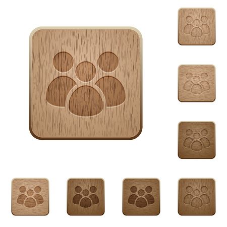 Team on rounded square carved wooden button styles Ilustrace