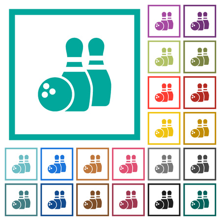 Bowling flat color icons with quadrant frames on white background