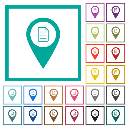 GPS map location details flat color icons with quadrant frames on white background