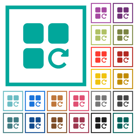 Redo component operation flat color icons with quadrant frames on white background