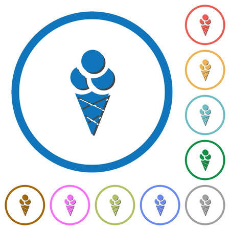 Ice cream flat color vector icons with shadows in round outlines on white background
