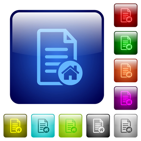 Default document icons in rounded square color glossy button set Vettoriali