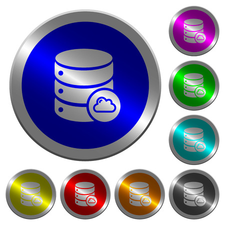 Cloud database icons on round luminous coin-like color steel buttons