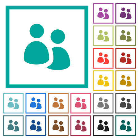 User group flat color icons with quadrant frames on white background Ilustrace
