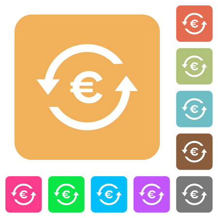 Euro pay back flat icons on rounded square vivid color backgrounds.