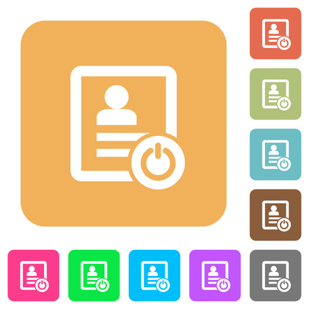 Exit from contact list flat icons on rounded square vivid color backgrounds. Stock Illustratie