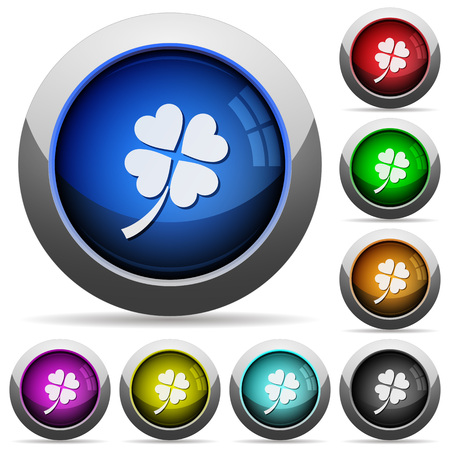 Four leaf clover icons in round glossy buttons with steel frames