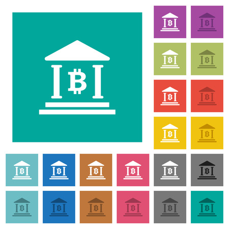 Bitcoin bank office multi colored flat icons on plain square backgrounds. Included white and darker icon variations for hover or active effects.