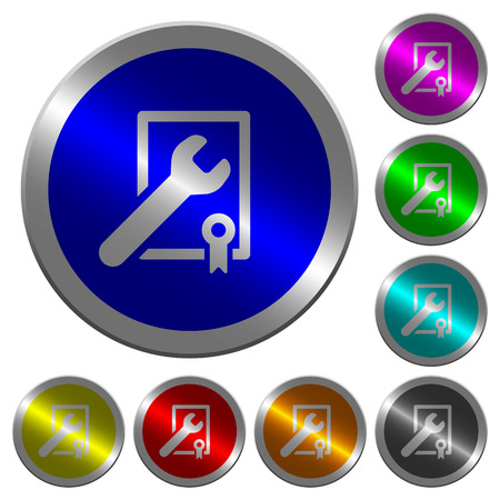 Award winning services icons on round luminous coin-like color steel buttons 写真素材 - 106878059