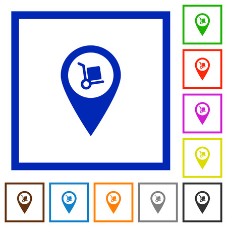 Parcel delivery GPS map location flat color icons in square frames on white background Ilustracja