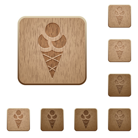 Ice cream on rounded square carved wooden button styles Illustration