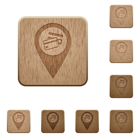 Credit card acceptance GPS map location on rounded square carved wooden button styles Stockfoto - 111776198