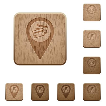Kreditkartenakzeptanz GPS-Kartenposition auf abgerundeten quadratischen geschnitzten Holzknopfstilen
