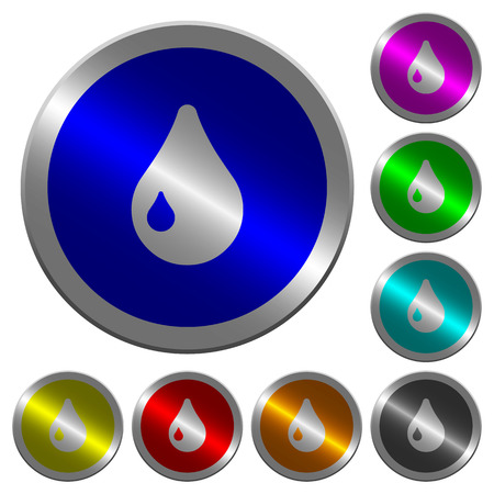 Drop icons on round luminous coin-like color steel buttons