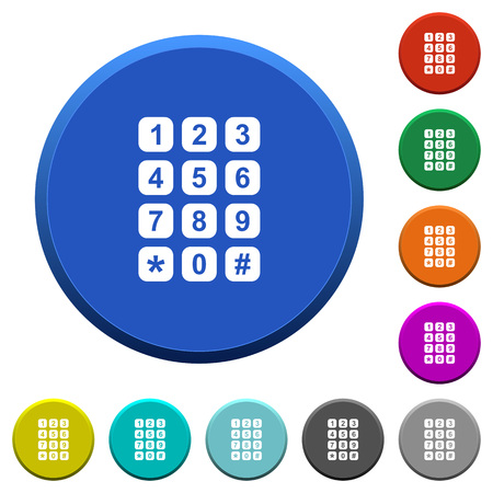 Numeric keypad round color beveled buttons with smooth surfaces and flat white icons