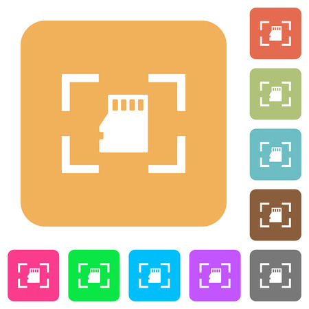 Camera memory card flat icons on rounded square vivid color backgrounds.