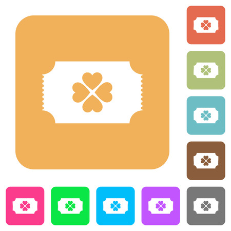 Lottery ticket flat icons on rounded square vivid color backgrounds. Illusztráció