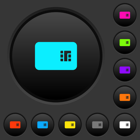 Chip card dark push buttons with vivid color icons on dark grey background 向量圖像