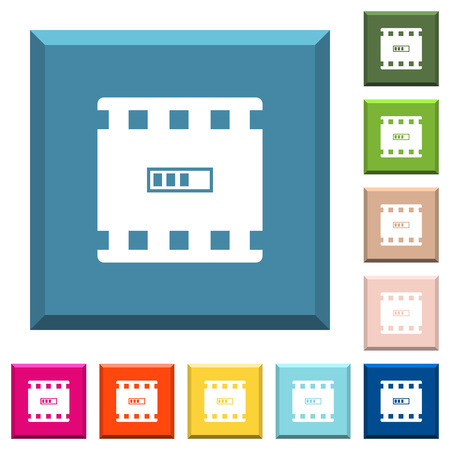 Movie processing white icons on edged square buttons in various trendy colors