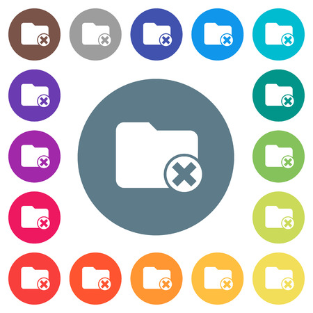 Cancel directory flat white icons on round color backgrounds. 17 background color variations are included.