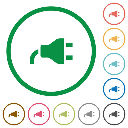 Power plug flat color icons in round outlines on white background Иллюстрация