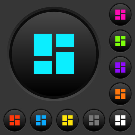 Admin dashboard panels dark push buttons with vivid color icons on dark grey background